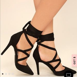 Lulu's Swear In Black Suede Lace-Up Heels
